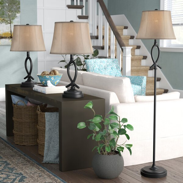 Cardella 3 Piece Table and Floor Lamp Set by Red Barrel Studio