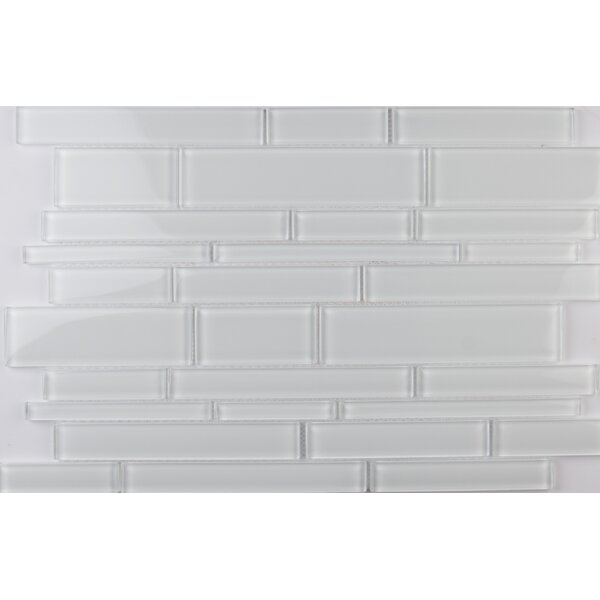 Ice Interlocking  Glass Mosaic Tile in White by MSI