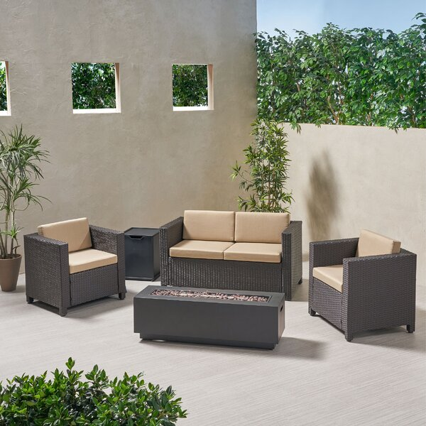 Rolando 4 Seater Chat 5 Piece Sofa Seating Group with Cushions by Rosecliff Heights Rosecliff Heights