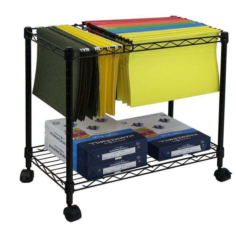 Portable 1 Tier Metal Rolling File Cart