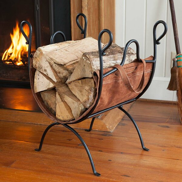 Folding Log Rack With Leather Sling Grate By Plow & Hearth
