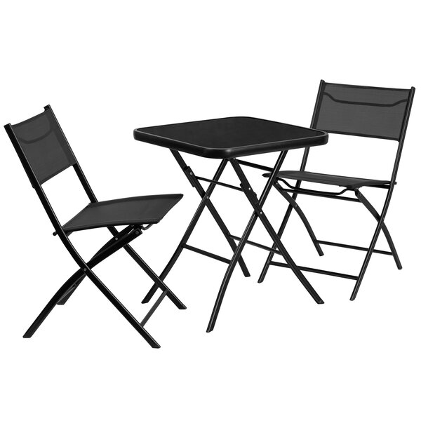 Ayla 3 Piece Metal and Tempered Glass Outdoor Dining Set by Freeport Park