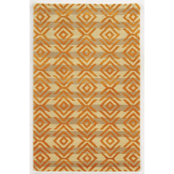 Adana Hand-Tufted Beige/Orange Area Rug by Meridian Rugmakers