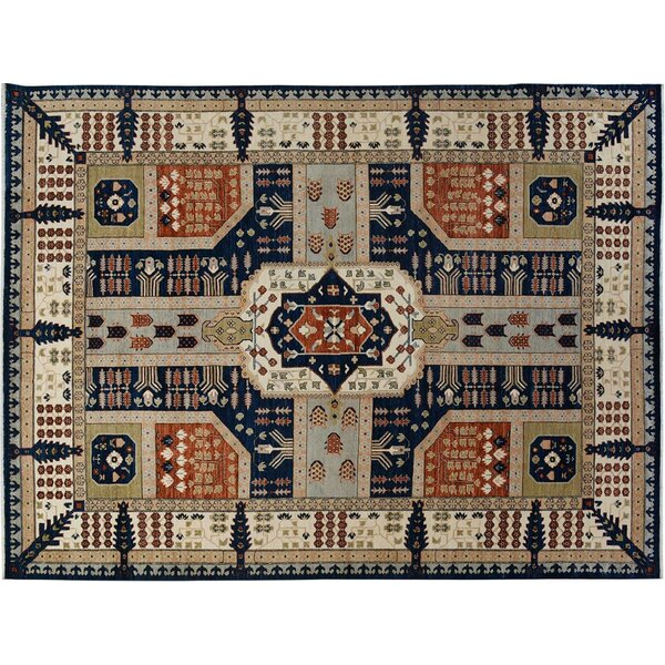 Badham Hand-Knotted Wool Blue/Ivory Area Rug by Bloomsbury Market