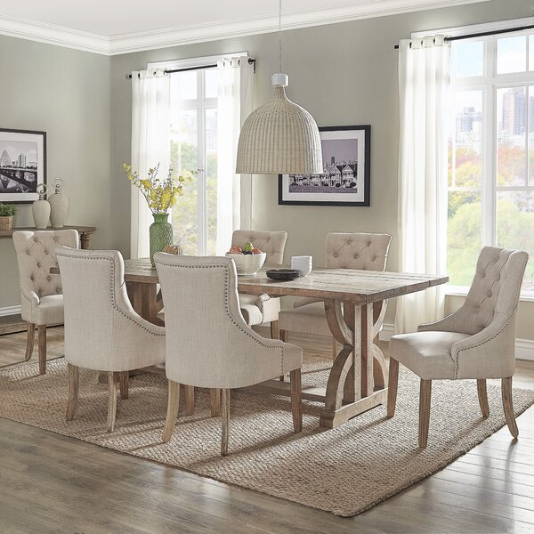 Adrik Salvaged Reclaimed Pine Wood 7 Piece Dining Set (Set of 7) by Birch Lane™ Heritage
