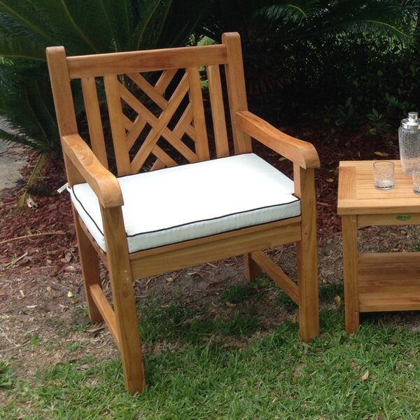 Zion Teak Patio Dining Chair with Cushion by Rosecliff Heights