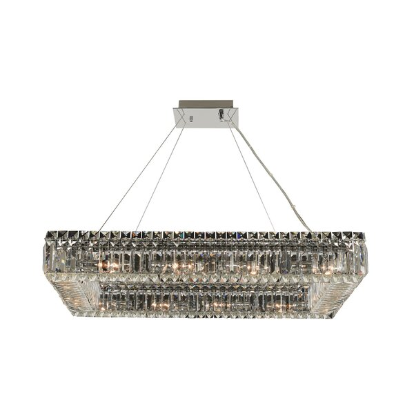 Moye 12 - Light Unique / Statement Rectangle Chandelier With Crytal Accents By Mercer41