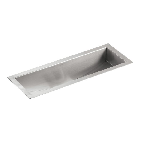 Undertone 22 L x 8-1/4 W x 5-1/4 Under-Mount Single-Bowl Trough Kitchen Sink, Includes Wire Basket and Rack by Kohler