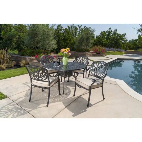 Dunnes 5 Piece Sunbrella Dining Set with Cushions by Darby Home Co