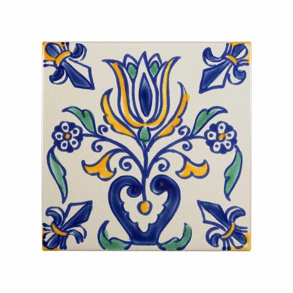 Mediterranean 4 x 4 Ceramic Tulip Decorative Tile in Blue by Casablanca Market