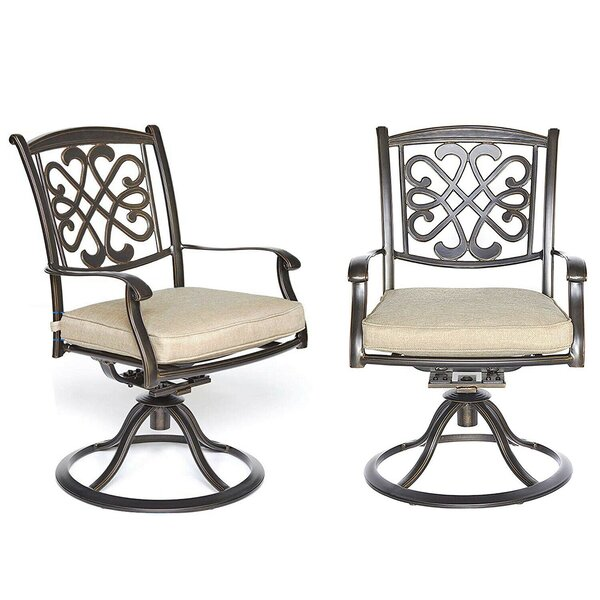 2Piece Bistro Table Chairs Set Cast Aluminum Dining Table Patio Glider Chairs (Set of 2) by Fleur De Lis Living