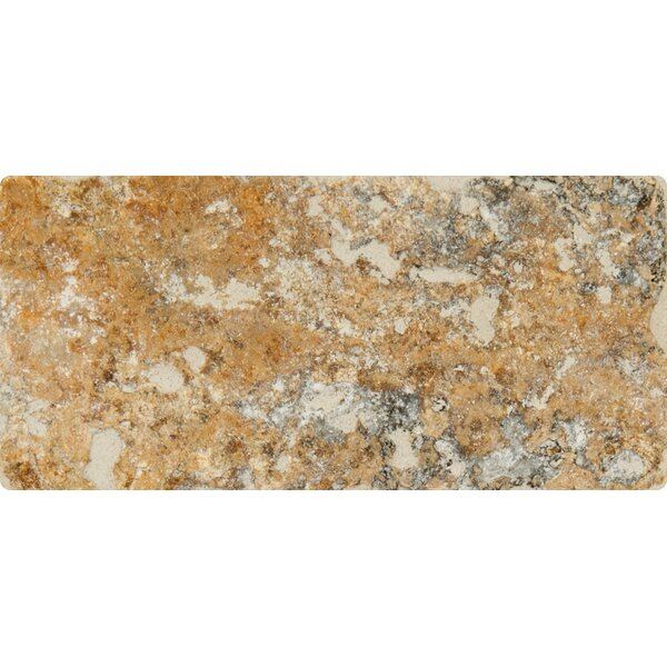 Tuscany Scabas 3'' x 6'' Travertine Subway Tile in Tumble Yellow by MSI