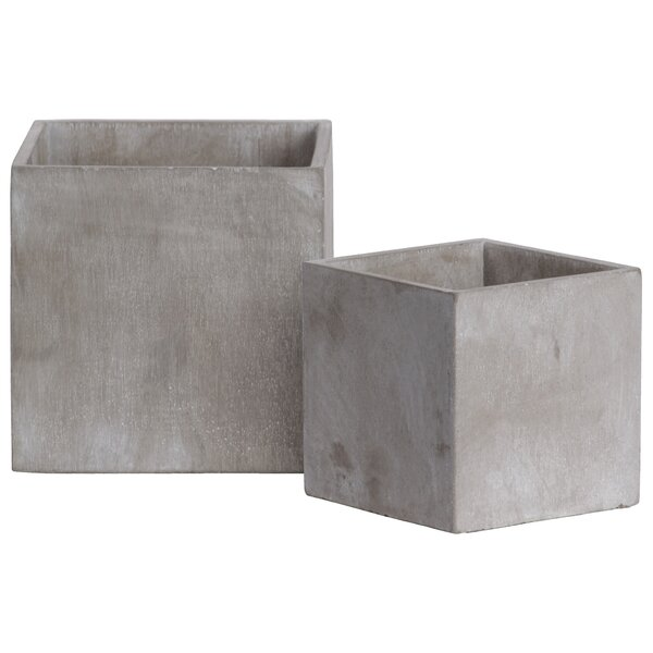 Hallatrow Square 2-Piece Concrete Pot Planter Set (Set of 2) by Williston Forge