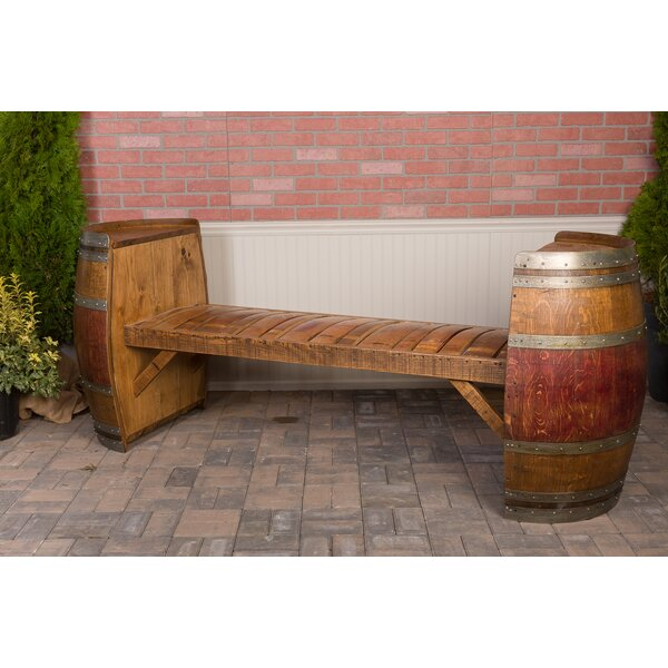 Wine Barrel Wood Garden Bench by Napa East Collection