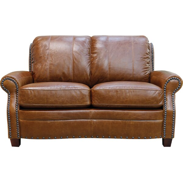 Check Prices Halliburton Leather 61 Recessed Arms Loveseat by Alcott Hill