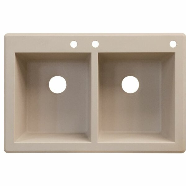 Radius 33 L x 22 W Double Basin Drop-in Kitchen Sink by Transolid