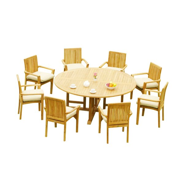 Massie 9 Piece Teak Dining Set by Rosecliff Heights