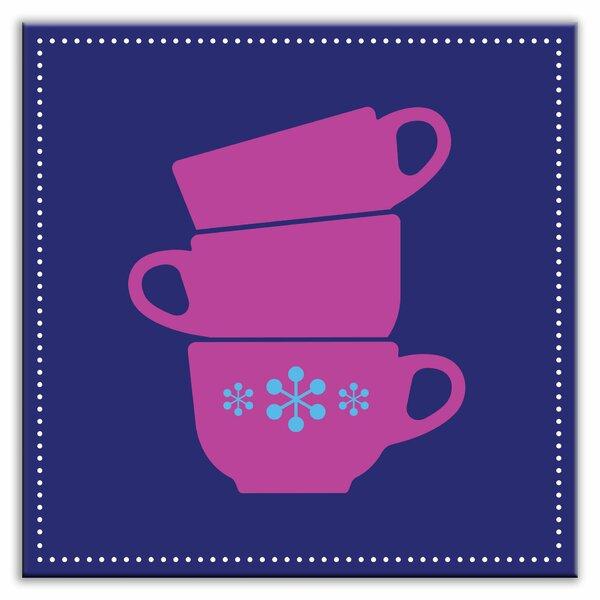 Kitschy Kitchen 4-1/4 x 4-1/4 Glossy Decorative Tile in Coffee Time Blue-Purple by Oscar & Izzy