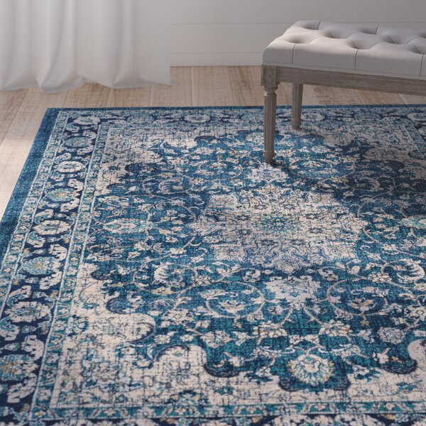 Aquila Traditional Navy/Cream Area Rug by Ophelia & Co.
