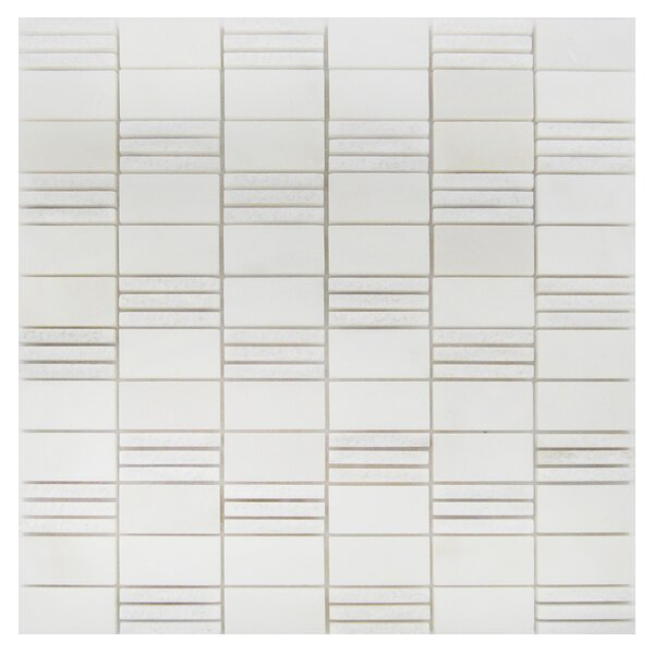 1 x 2 Marble Mosaic Tile in Oriental White by Luxsurface