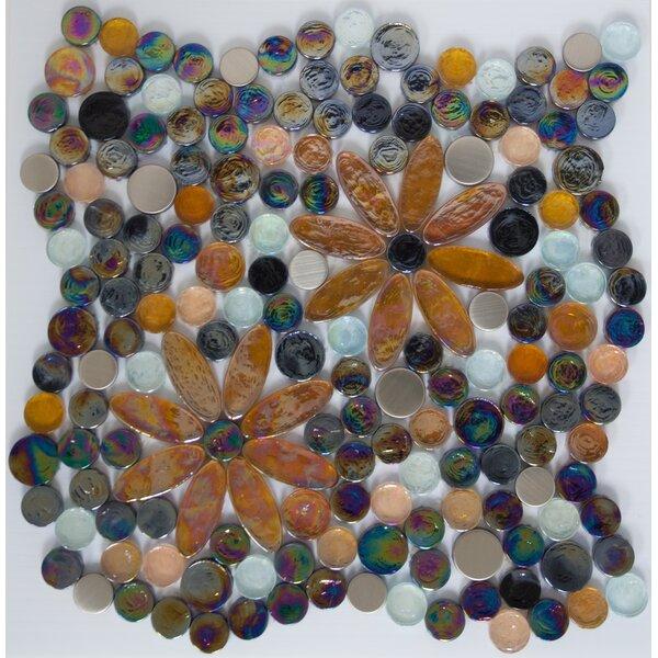Signature Line Black Eyed Susans Glass Mosaic Tile in Brown/Black by Susan Jablon