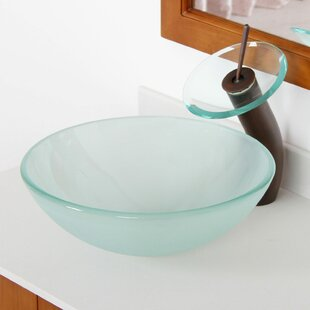 Compare prices Double Layered Tempered Glass Circular Vessel Bathroom Sink By Elite