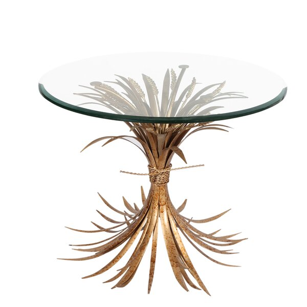Avanna Glass Top Pedestal End Table By World Menagerie