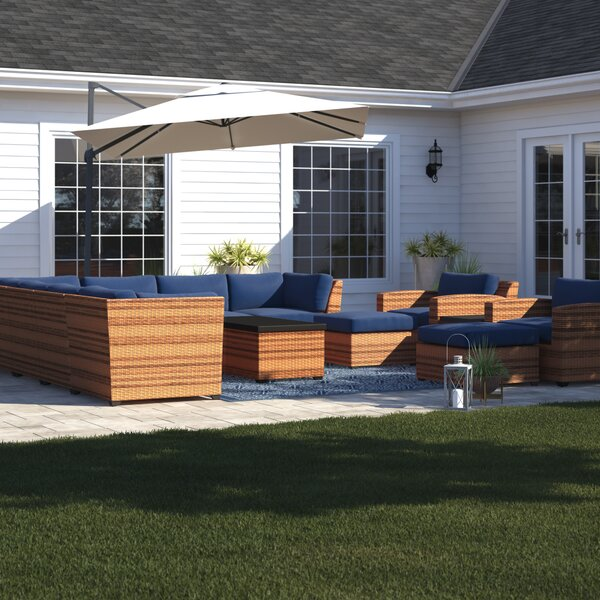 Waterbury 13 Piece Rattan Sectional Seating Group with Cushions by Sol 72 Outdoor