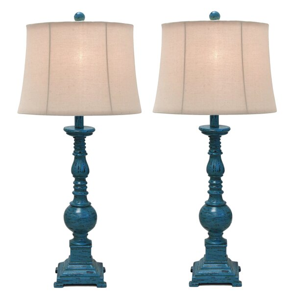 Kerry Distressed Polystone Pedestal 31 Table Lamp (Set of 2) by Urban Designs