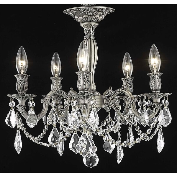 Utica 5 - Light Candle Style Classic / Traditional Chandelier with Crystal Accents by Astoria Grand Astoria Grand