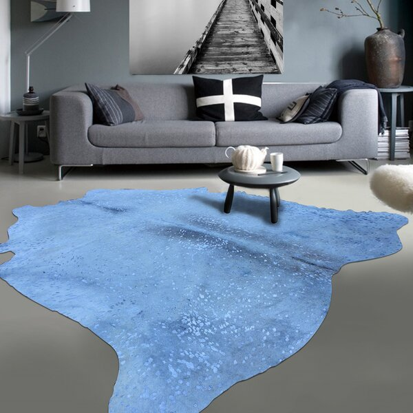 Graceful Luminous on Soft Hand-Woven White/Blue Area Rug by Rug Factory Plus