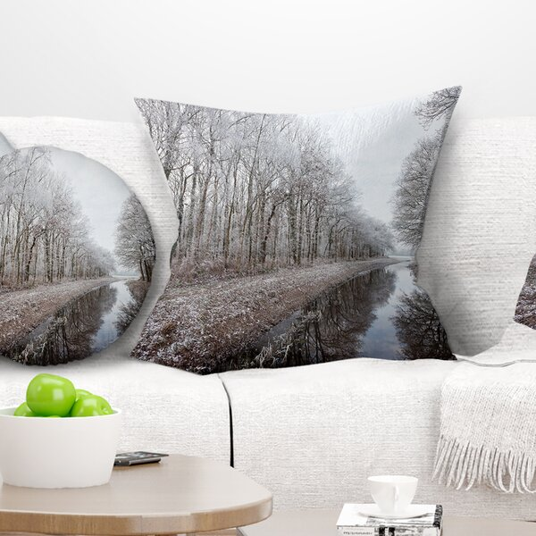 Landscape Printed Trees in Winter Pillow by East Urban Home