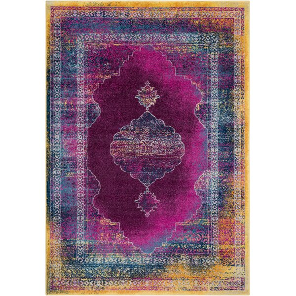 Kay Overdyed Distressed Dark Blue/Magenta Area Rug by Bungalow Rose