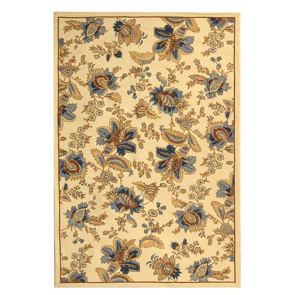 Helena Hand-Hooked Wool Ivory Area Rug I by Charlton Home