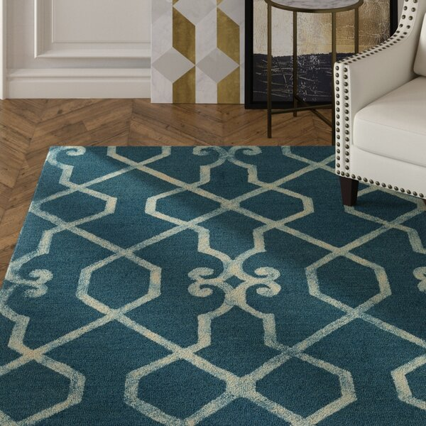 Sandhill Hand-Tufted Teal/Ivory Area Rug by Mercer41