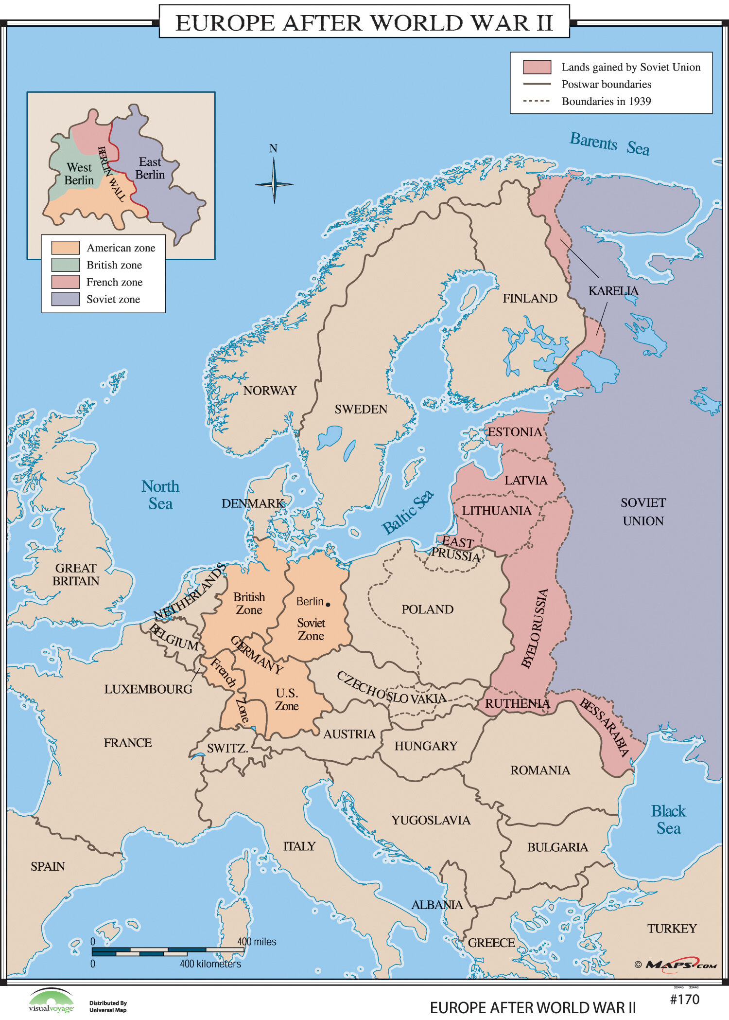 World History Wall Maps - Europe after World War II