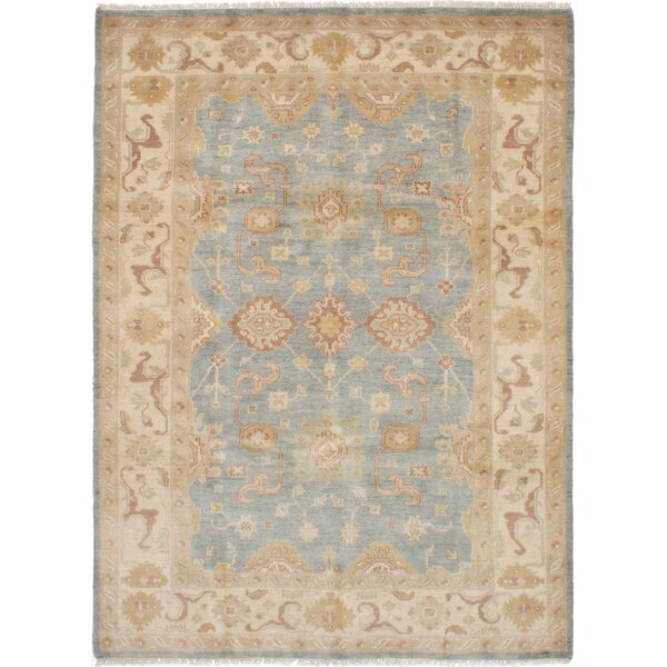 One-of-a-Kind Adelinda Ushak Hand-Knotted Wool Blue/Gray Area Rug by Isabelline