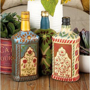 Rodovre 3 Piece Glass Painted Decorative Bottle Set