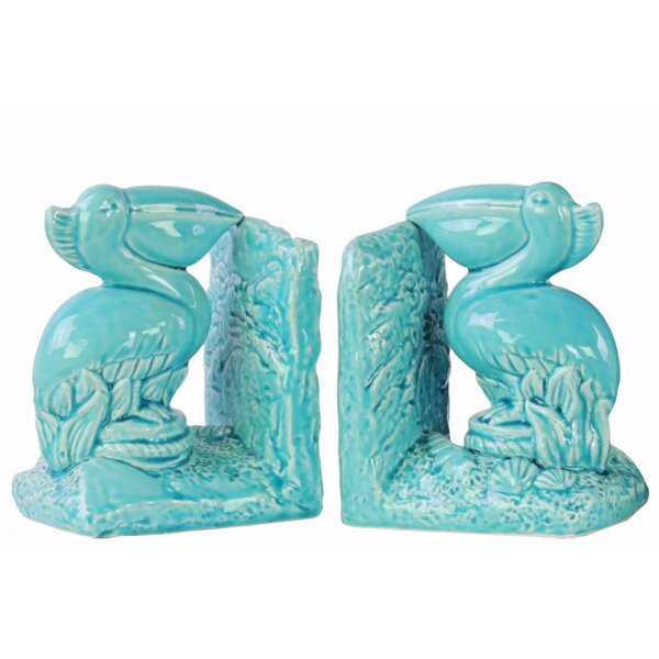 Pelican Bird on Base Bookends (Set of 2) by Highland Dunes