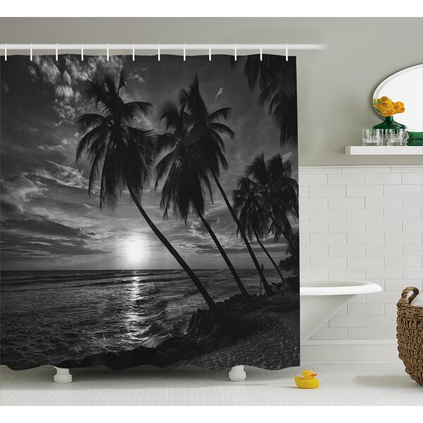 Tropical Coconut Palm Trees Print Shower Curtain by East Urban Home