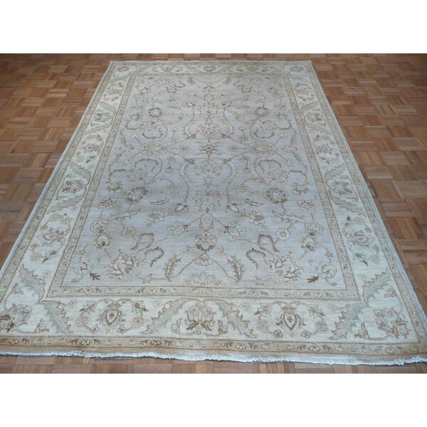 One-of-a-Kind Railsback Hand-Knotted Wool Sky Blue Area Rug by Astoria Grand