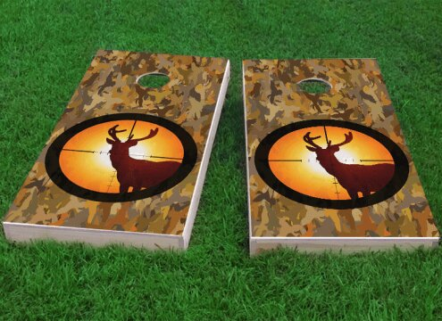 Camo Deer Hunter Cornhole Game (Set of 2) by Custom Cornhole Boards
