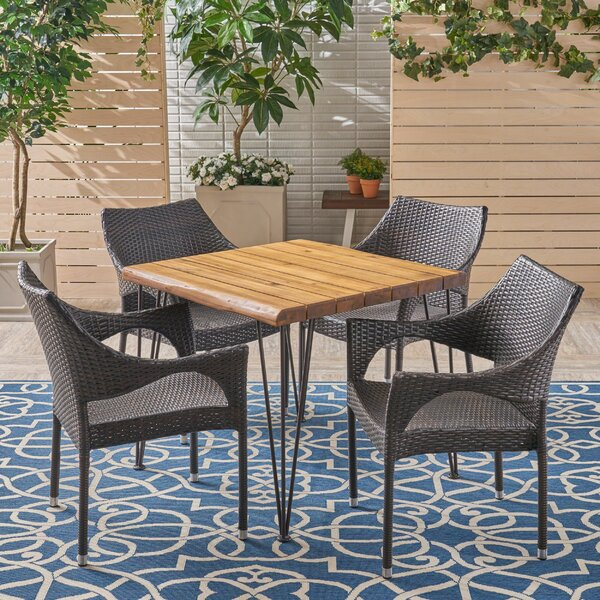 Carytown 5 Pieces in Set Teak Dining Set by Bungalow Rose