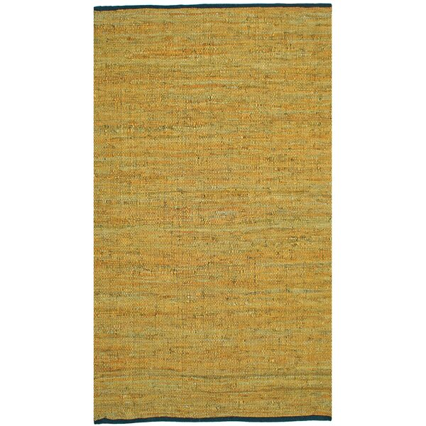 Sandford Flatweave Cotton Gold Area Rug by Wrought Studio