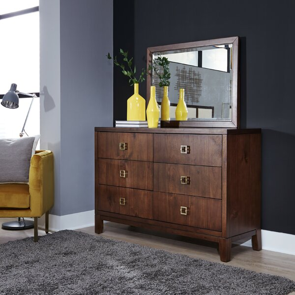 Robbinsdale 6 Drawer Double Dresser with Mirror by Wrought Studio