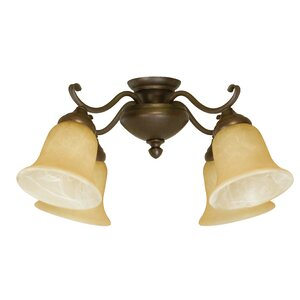4-Light Glass Shade Branched Ceiling Fan Light Kit