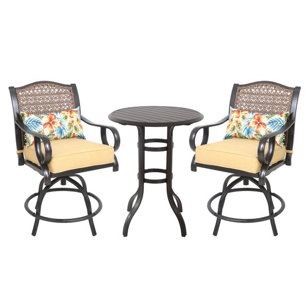 Sierra 3 Piece Bar Height Dining Set with Cushions by Bay Isle Home
