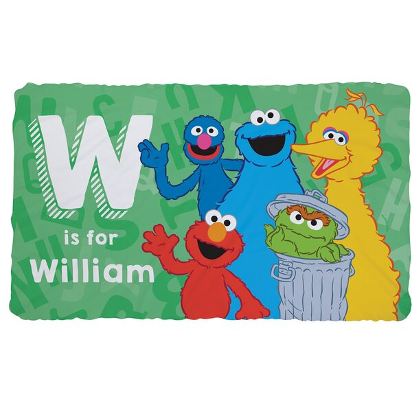 Personalized Sesame Street Initial Fuzzy Throw by CPS