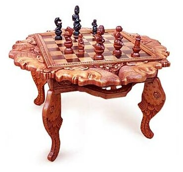 19.75 Buddha and Monks Wood Chess Table by Novica