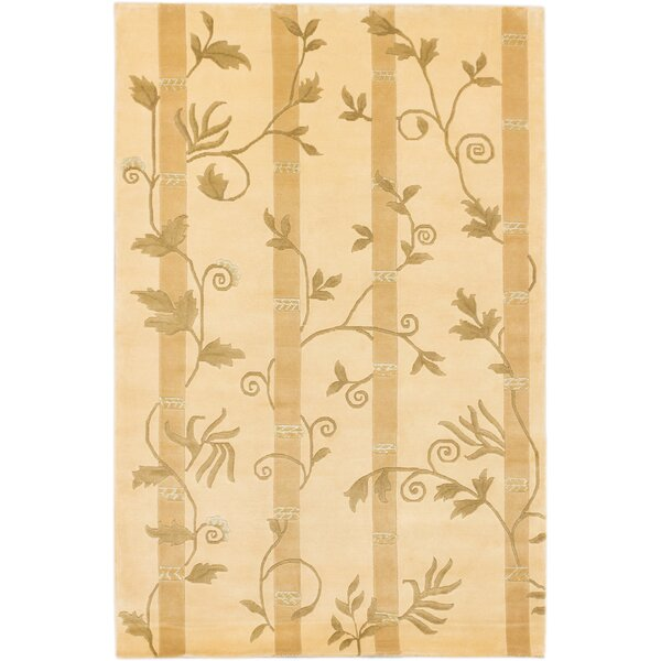 Silk Touch Hand-Knotted Light Gold Area Rug by ECARPETGALLERY